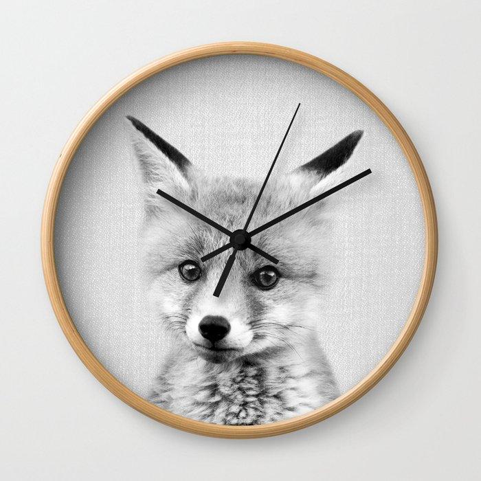 Baby Fox - Black & White Wall Clock