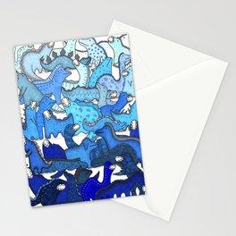 Blue Dinosaur Gradient Stationery Cards