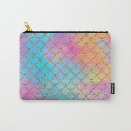 Pastel Mermaid Scales Gold Sparkle Glitter Carry-All Pouch