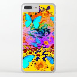 Yellow Floating Butterflies Flowers Dreamscape Clear iPhone Case