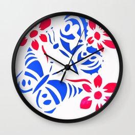 Butterfly and flower screenprint Wall Clock
