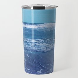Blue Atlantic Ocean White Cap Waves Clouds in Sky Photograph Travel Mug