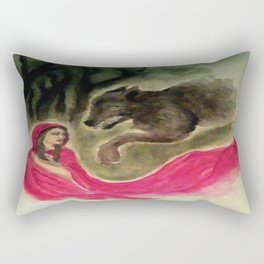 Red Riding Hood and the Wolf Rectangular Pillow