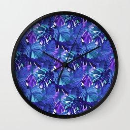 Palm Leaf Blue Wall Clock