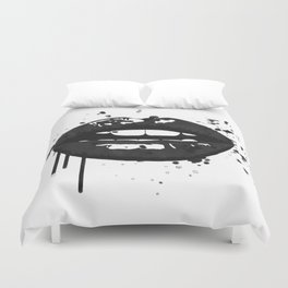 Black and white glamour fashion lips Duvet Cover