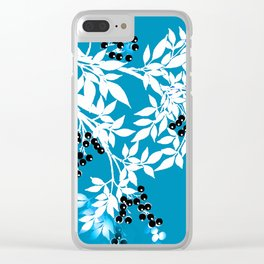 TREE BRANCHES BLUE AND WHITE WITH BLACK BERRIES TOILE Clear iPhone Case