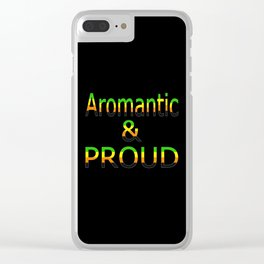 Aromantic and Proud (black bg) Clear iPhone Case