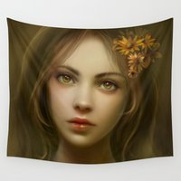 madonna Wall Tapestries featuring Amber by Cris Ortega