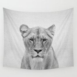 Lioness - Black & White Wall Tapestry
