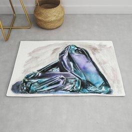 Rainbow Fluorite Crystals Watercolor Rug
