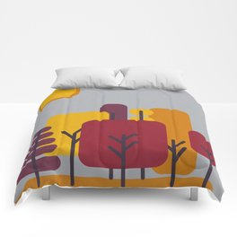Sun over Autumn Forest Comforters