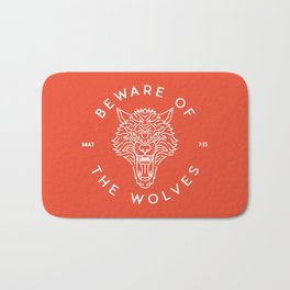 Beware of the Wolves (white) Bath Mat