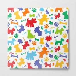Colorful Dogs Pattern Metal Print