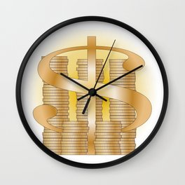 Piles of Coins Wall Clock
