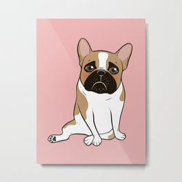 Pouty Cute Black Mask Pied French Bulldog Wants Your Love Metal Print