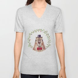 "Watercolor painting ""Sir Capybara"" Unisex V-Neck"