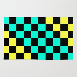 Black, Aqua, & Yellow Checkerboard Pattern Rug