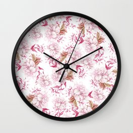 Modern pink blush purple pastel watercolor elegant floral Wall Clock