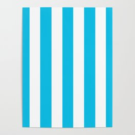 Blue raspberry - solid color - white vertical lines pattern Poster