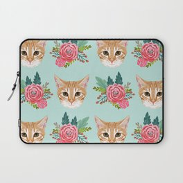 Tabby cat florals flowers must have cat themed gifts pet portrait cat lady mint pastel cat art fur Laptop Sleeve