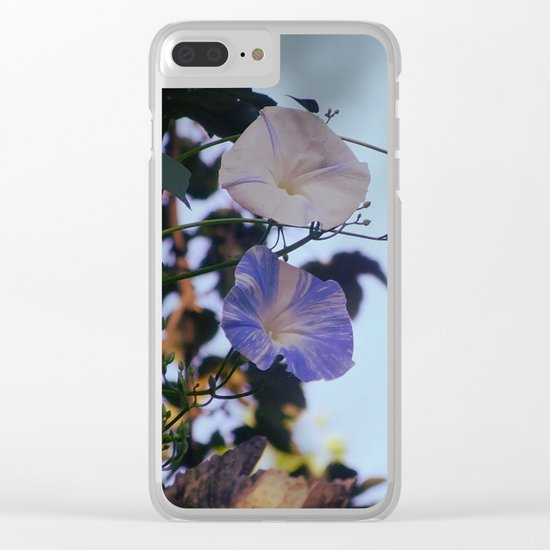 Blue And White Striped Morning Glories Clear iPhone Case