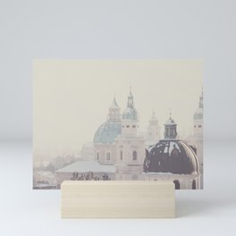 beneath the snow covered domes of Salzburg, Austria Mini Art Print