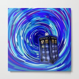 Blue Phone Box with Swirls Metal Print