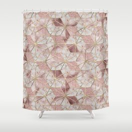 Modern rose gold geometric star flower pattern Shower Curtain