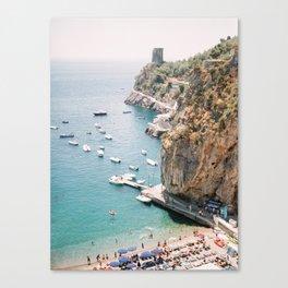Beach between Amalfi and Positano   Southern Italy Travel   Mediterrenean Coast Photography Canvas Print