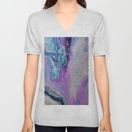 Purple Fluid Acrylic Abstract Painting - Slow Down  III Unisex V-Neck