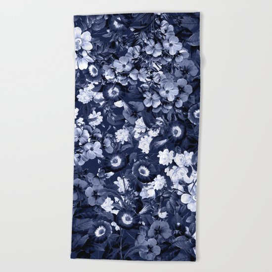 Bohemian Floral Nights in Navy Beach Towel