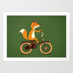 Little fox on the bike Art Print
