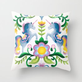 The Royal Society Of Cute Unicorns Light Background Throw Pillow