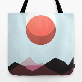 Minimalist Red Moon Lunar Eclipse with Mountains Tote Bag