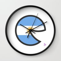 argentina Wall Clocks featuring Argentina Smile by onejyoo