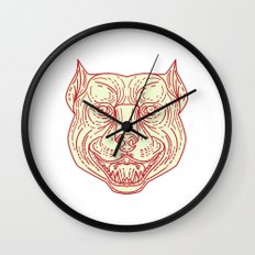 Pitbull Dog Mongrel Head Mono Line Wall Clock