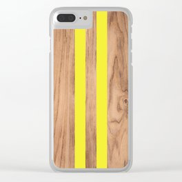 Wood Grain Stripes - Yellow #255 Clear iPhone Case