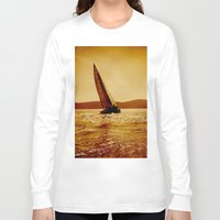 sailboat Long Sleeve T-shirts featuring single sailboat by laika in cosmos