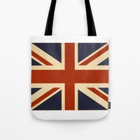 british flag Tote Bags featuring British Flag Vintage Illustration by MY  HOME