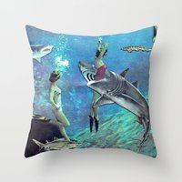 sharks Throw Pillows featuring Sharks by Ben Giles