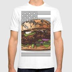 USburger White MEDIUM Mens Fitted Tee