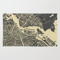 amsterdam Area & Throw Rugs featuring Amsterdam by Map Map Maps