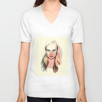cara V-neck T-shirts featuring Cara by Beth Zimmerman Illustration