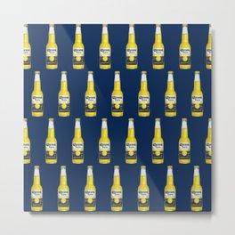 Corona Beer Bottle, Pop-Art Pattern, Blue Metal Print