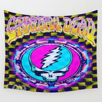 grateful dead Wall Tapestries featuring Grateful Dead #11 Optical Illusion Psychedelic Design by CAP Artwork & Design