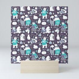 Arctic bear pajamas party Mini Art Print