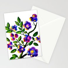 Blue Pink Yelow Flower Branch Clip Art Stationery Cards