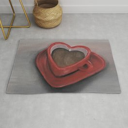 Heart-shaped coffee mug, oil painting by Luna Smith, LuArt Gallery, valentine's day, love, heart Rug