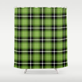 Greenery green color themed plaid SCOTTISH TARTAN Checkered Fabric Pattern background. Shower Curtain
