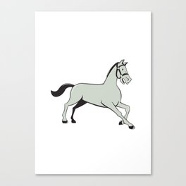 Horse Trotting Side Cartoon Isolated Canvas Print